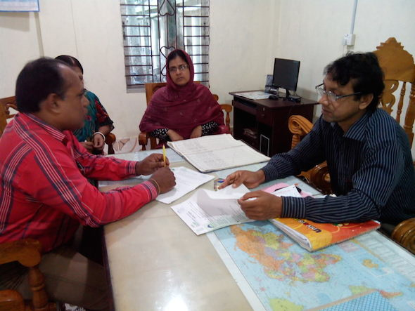 Upazilla co-ordinator, DORP, Kuliarchar have signed an MoU with headteacher and assistant teacher of the Emad Uddin High School at Saloa Union, Kuliarchar. Photo by DORP.
